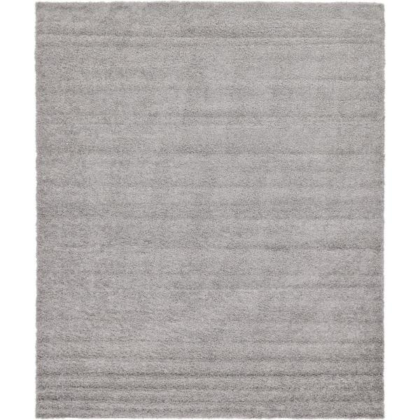 Solid Shag Cloud Gray 12 ft. x 15 ft. Area Rug