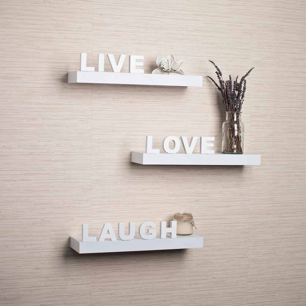 "15 in. x 3.25 in White Decorative ""Live"" ""Love"""