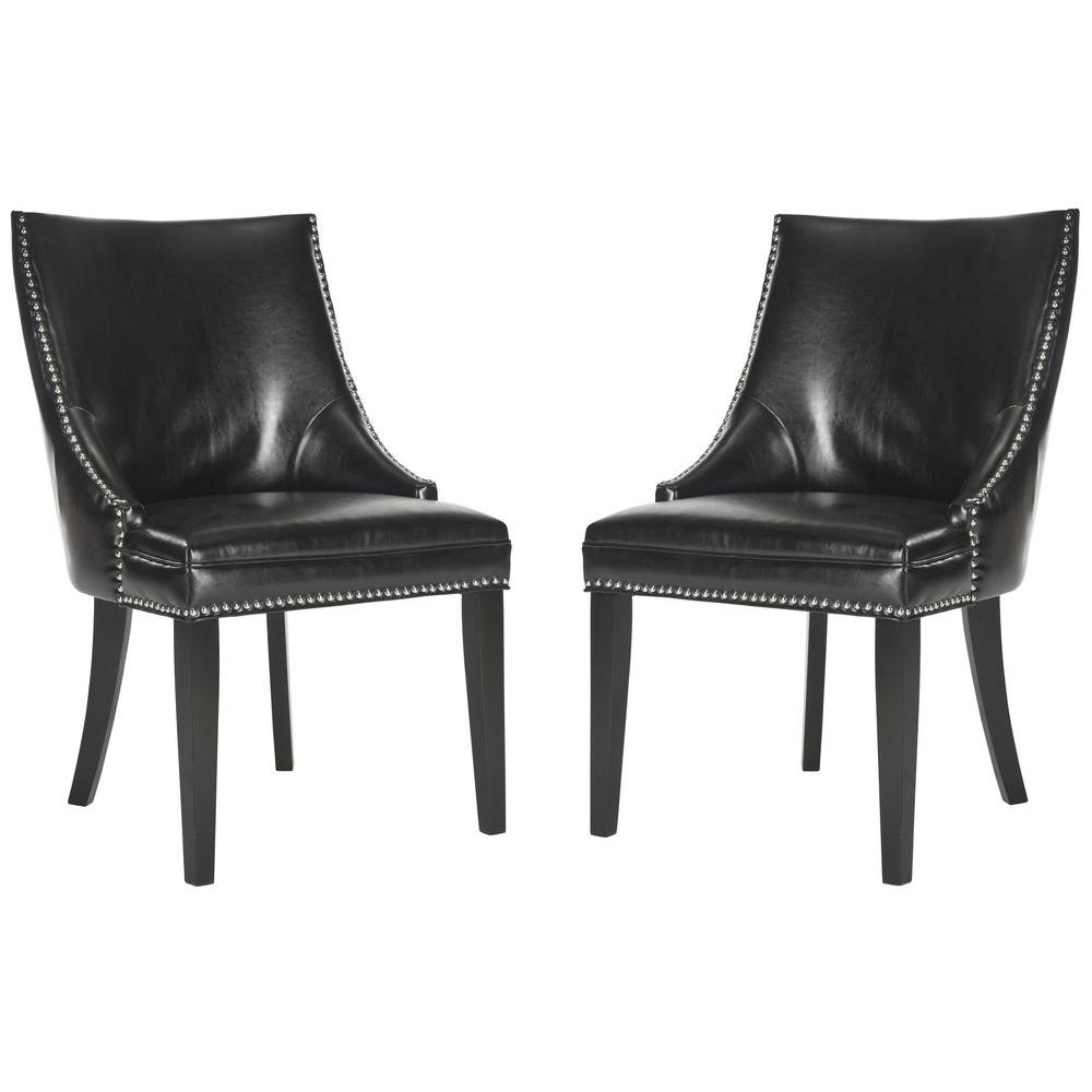 Afton Black/Espresso Bicast Leather Side Chair (Set of 2)