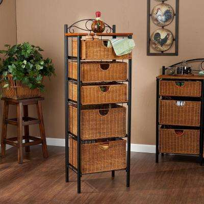 Paulson 18 in. W Storage Rack in Black with Oak