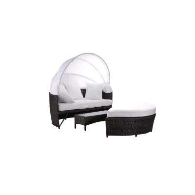 Sogno Deluxe Charcoal Wicker Patio Outdoor Daybed with Off-White Cushions