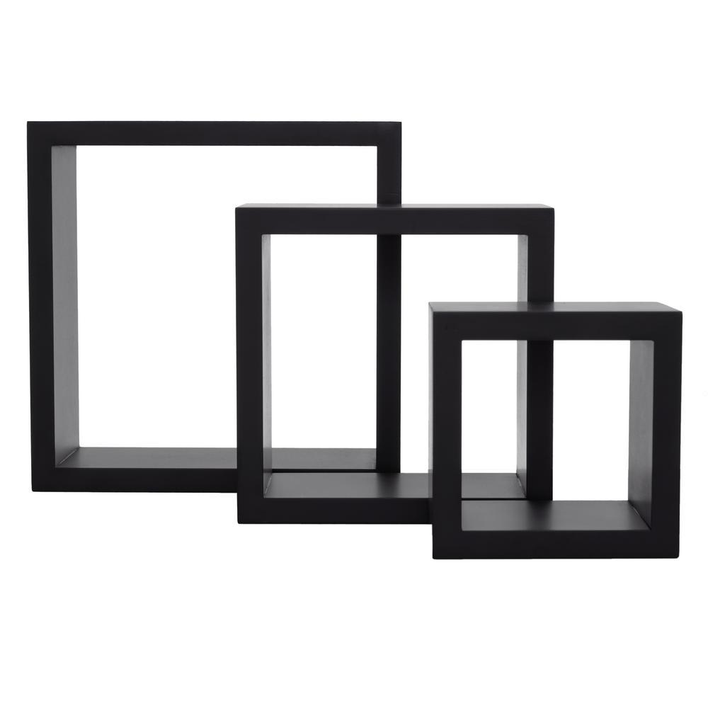 nexxt Cubbi 9 in. MDF Wall Shelf in Black (3-Piece)