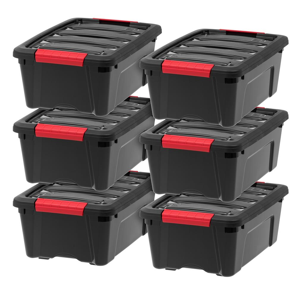 IRIS 12 Qt. Stack and Pull Storage Box in Black (6-Pack)
