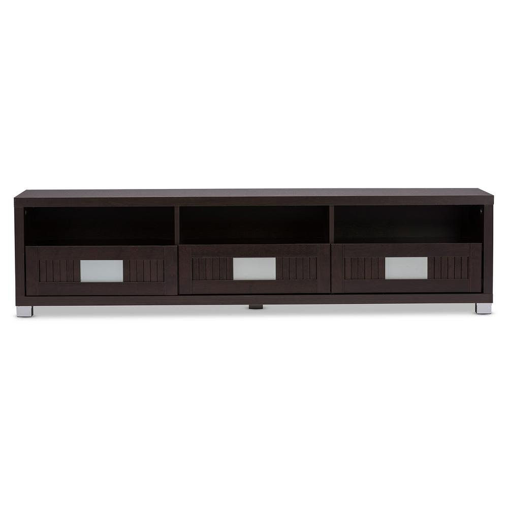 Baxton Studio Gerhardine Dark Brown Wood Storage Entertainment