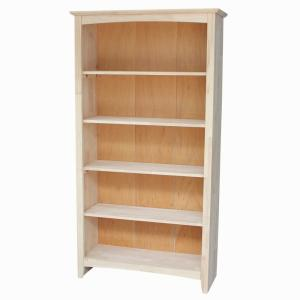 Brooklyn 4-Shelf Bookcase in Unfinished Wood