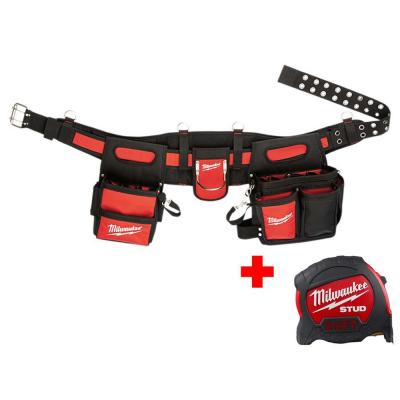 Adjustable Electricians Work Belt with 25 ft. STUD Tape Measure