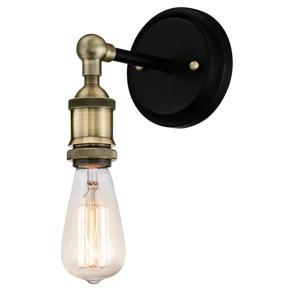 Westinghouse 1-Light Antique Brass and Matte Black Wall Mount Sconce