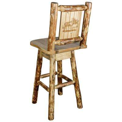 Glacier 30 in. Laser Engraved Moose Motif Swivel Bar Stool