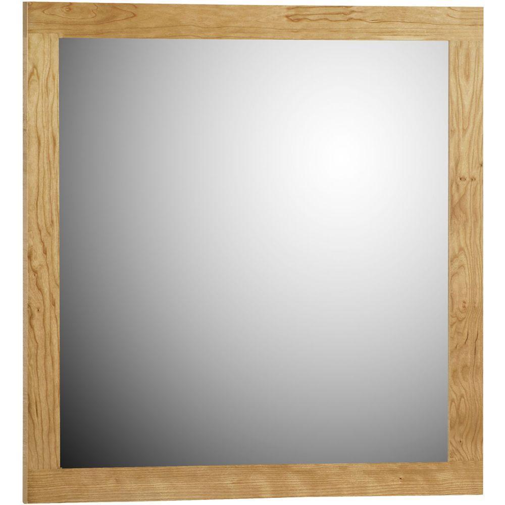 Shaker 30 in. W x 32 in. H Framed Rectangular Bathroom Vanity Mirror in natural alder