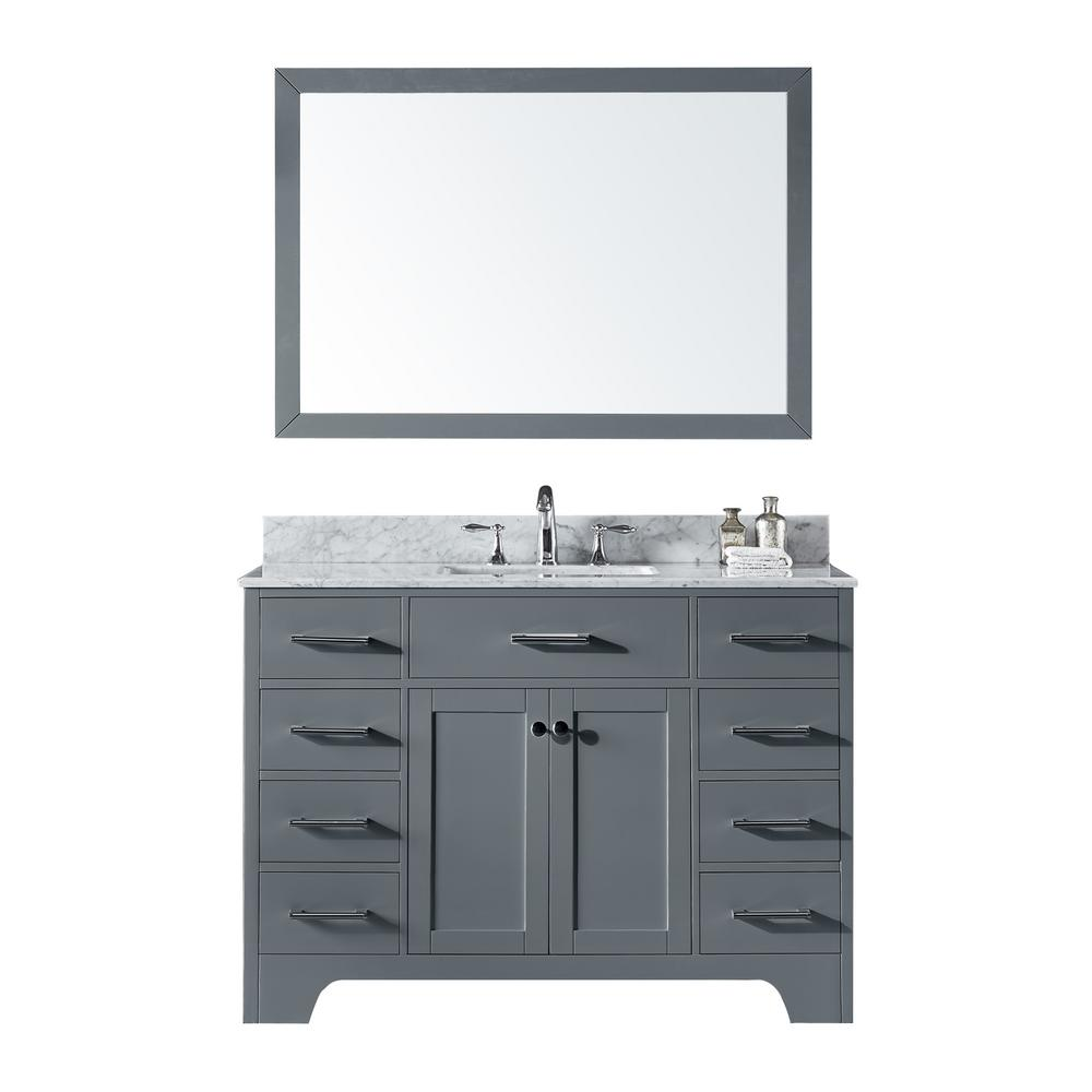 48 in. Single Sink Bathroom Vanity in Cashmere Grey with Carrara