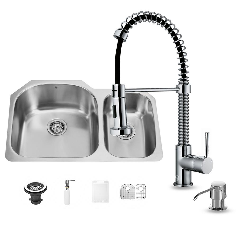 VIGO All-in-One Undermount Stainless Steel 32 in. Double Basin Kitchen Sink in Chrome