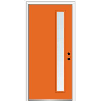 32 in. x 80 in. Viola Low-E Glass Left-Hand Inswing 1-Lite Clear Painted Steel Prehung Front Door