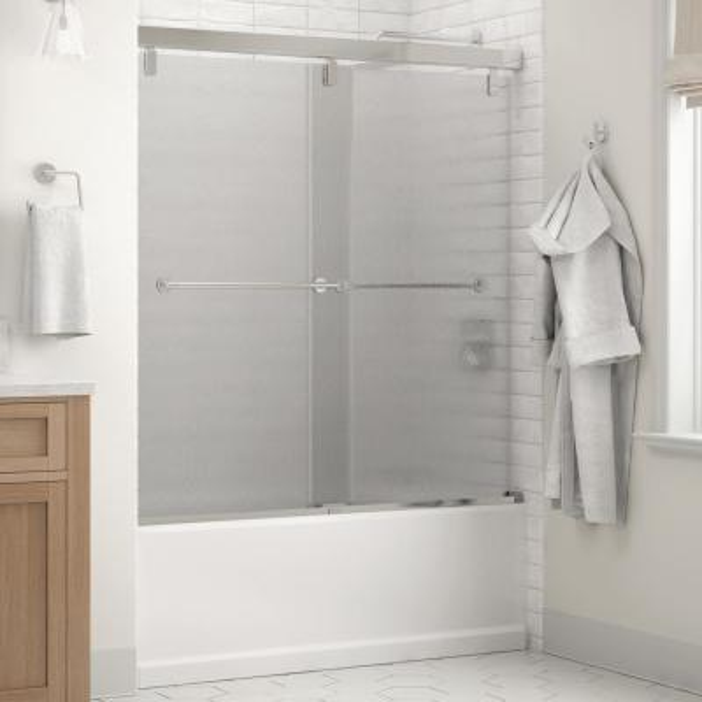 Everly 60 in. x 59-1/4 in. Mod Semi-Frameless Sliding Bathtub Door in Chrome and 1/4 in. (6mm) Rain Glass