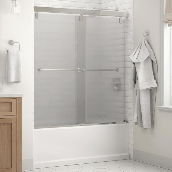 Everly 60 in. x 59-1/4 in. Mod Semi-Frameless Sliding Bathtub Door in Chrome and 1/4 in. (6mm) Rain Glass