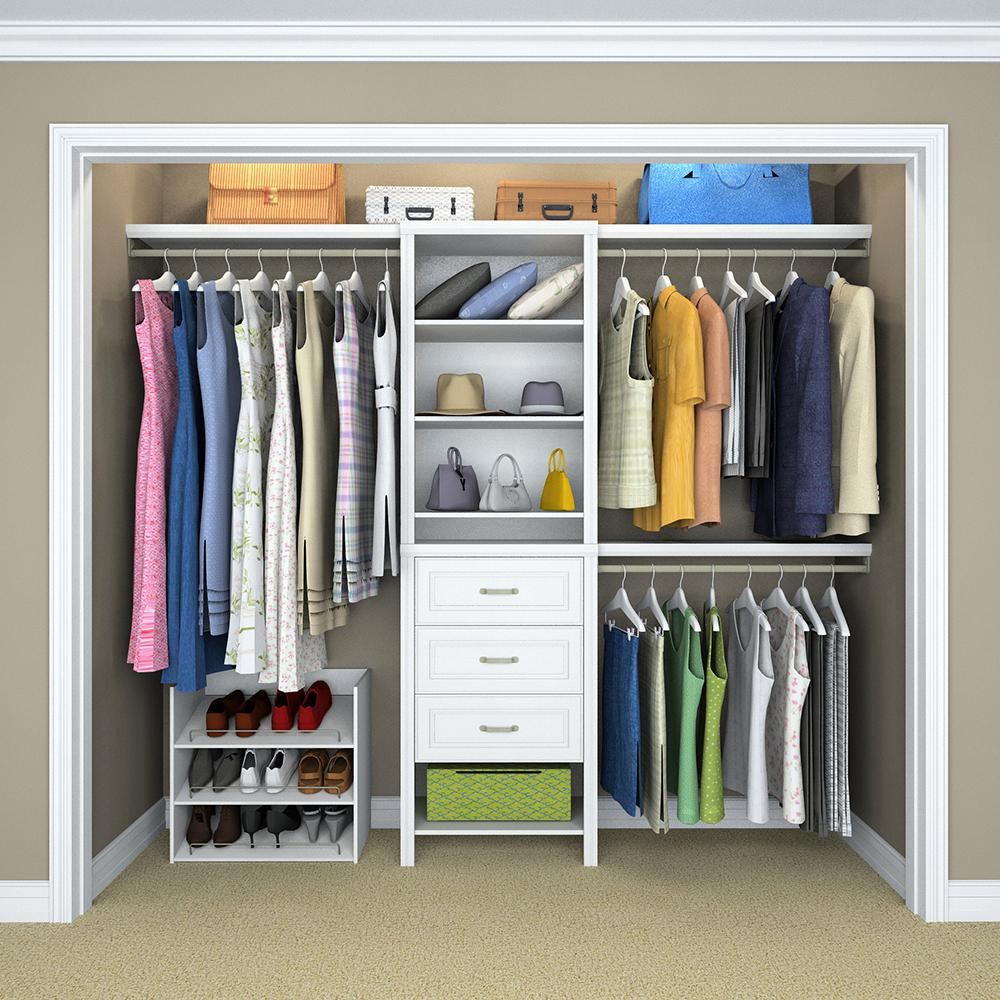 Do It Yourself Home Design: White Laminate Wood Closet Kit 8 Shelves 3 Clothing Rod