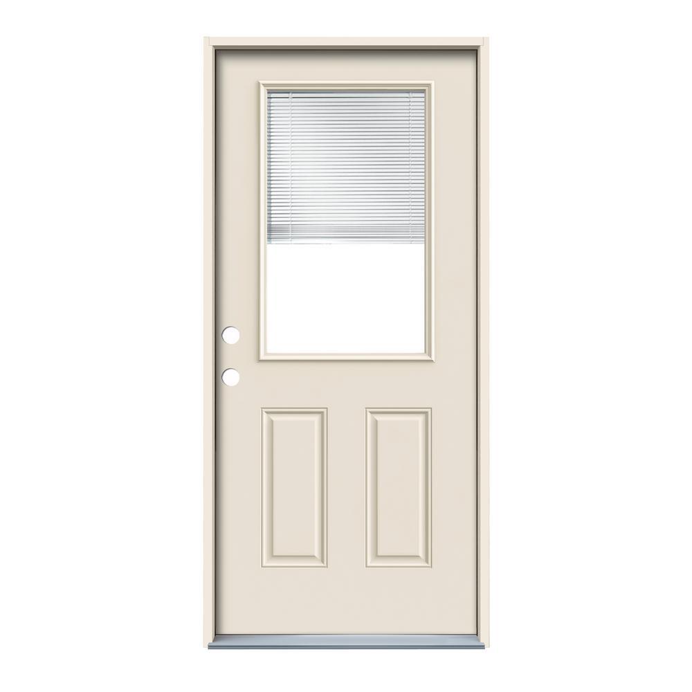 JELD-WEN 32 in. x 80 in. Primed Right-Hand Inswing 1/2-Lite Clear Steel Prehung Front Door w/ Brickmould