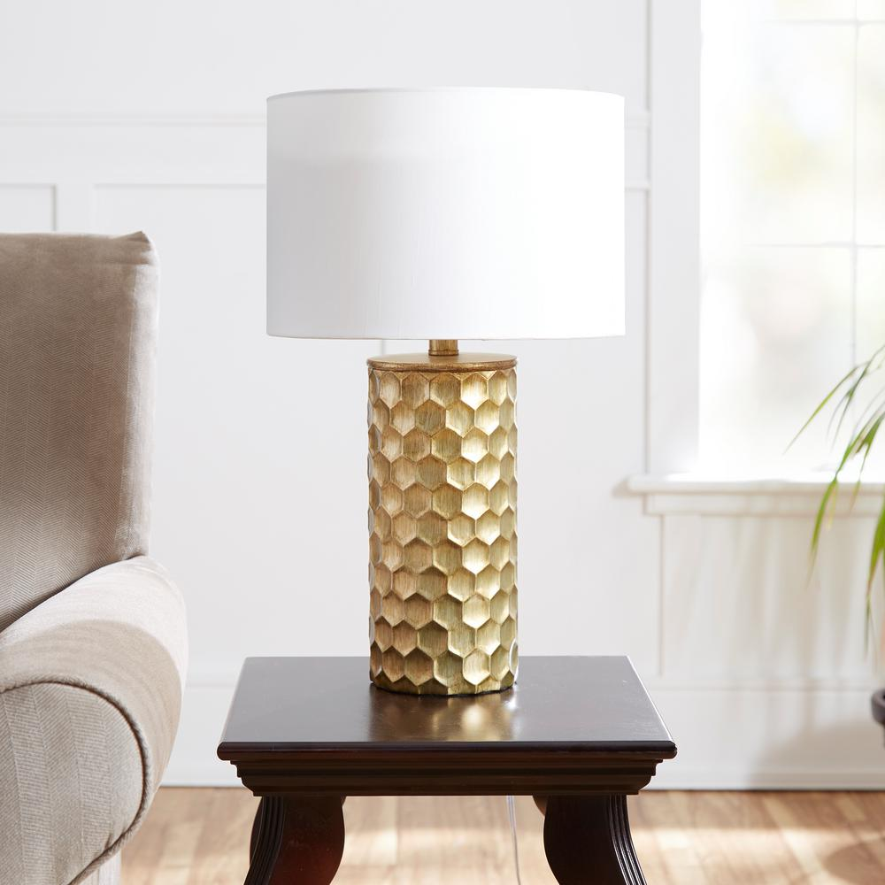 Silverwood Furniture Reimagined Hive Gilded 21 in. Gold Table Lamp with  Linen Shade