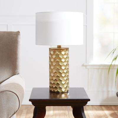 Hive Gilded 21 in. Gold Table Lamp with Linen Shade