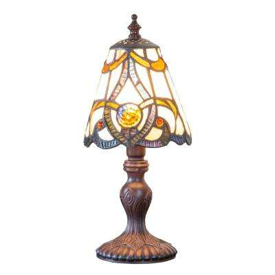 12.25 in. H Amber Table Lamp with Stained Glass Brandi Shade