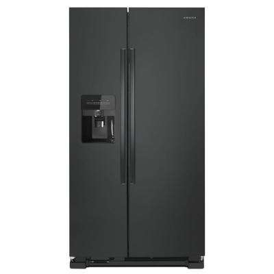24.6 cu. ft. Side by Side Refrigerator with Dual Pad External Ice and Water Dispenser in Black