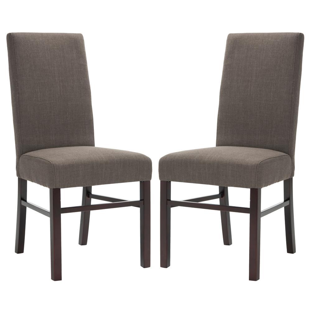 safavieh charcoal brown dining chair set of 2 hud8205j set2 the home depot. Black Bedroom Furniture Sets. Home Design Ideas