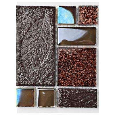 Garden Versailles Walnut Ceramic and Glass Mosaic Tile - 3 in. x 4 in. Tile Sample