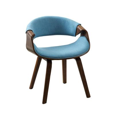 20 in. Seat Height Blue Wrap Around Back Dinning Arm Chair with Walnut Wood