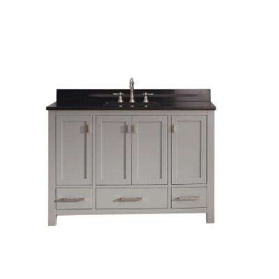 Modero 49 in. W x 22 in. D x 35 in. H Vanity in Chilled Gray with Granite Vanity Top in Black and White Basin