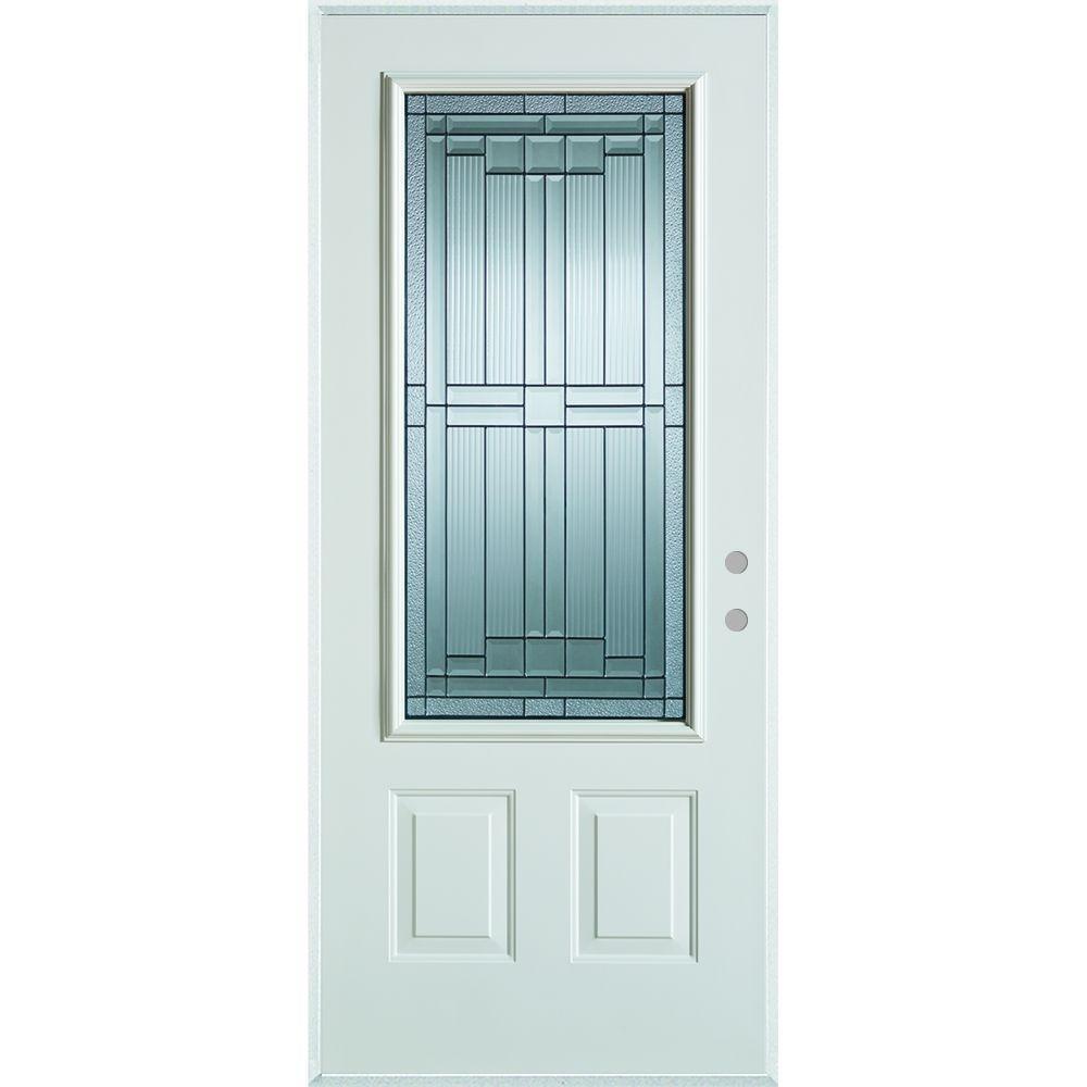 Stanley Doors 37.375 in. x 82.375 in. Architectural 3/4 Lite 2-Panel Painted White Steel Prehung Front Door