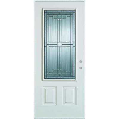 37.375 in. x 82.375 in. Architectural 3/4 Lite 2-Panel Painted White Steel Prehung Front Door