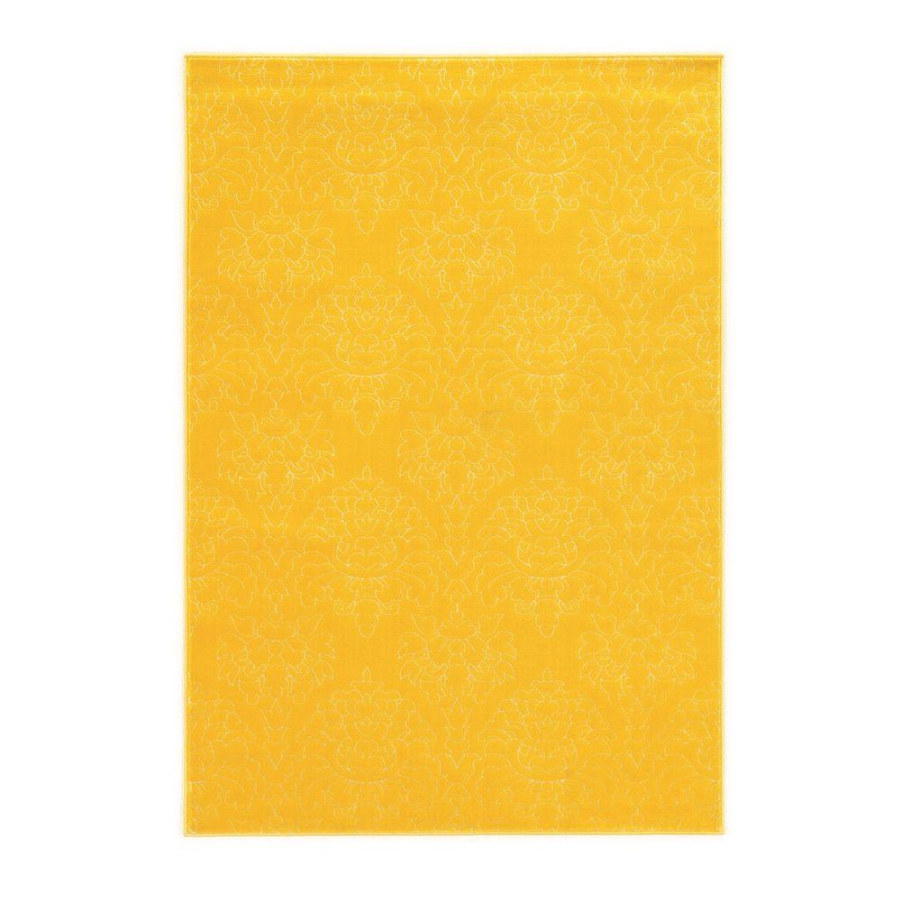 Linon Home Decor Prisma Chloe Yellow and White 5 ft. 3 in. x 7 ft. 6 in. Indoor Area Rug