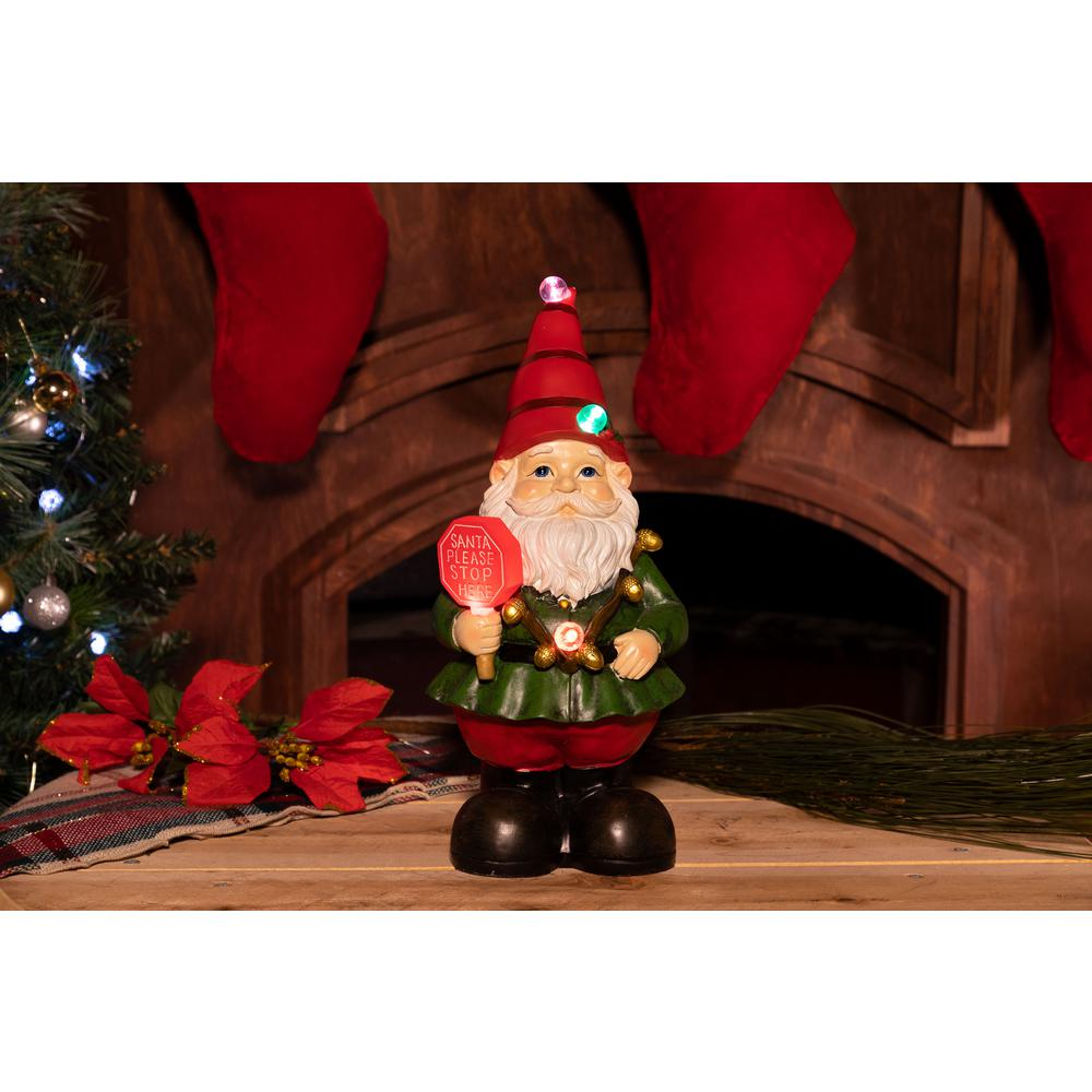 christmas gnome status with color changing led lights