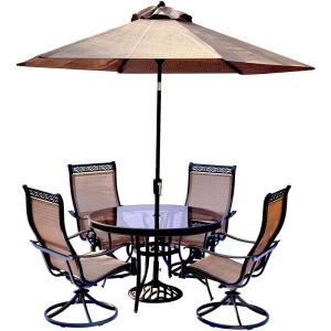 Hanover 5-Piece Aluminum Outdoor Dining Set with Round Glass-Top Table and Contoured Sling Swivel Chairs,... by Hanover