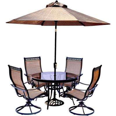 5-Piece Aluminum Outdoor Dining Set with Round Glass-Top Table and Contoured Sling Swivel Chairs, Umbrella and Base