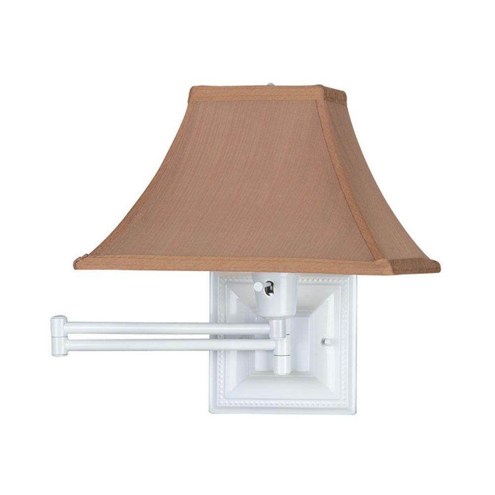 Home Decorators Collection White Kingston Swing-Arm Pin-Up Lamp