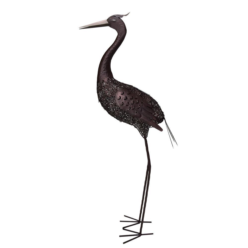 40 in. Steel Indoor/Outdoor Animal Garden Forward Facing Crane Metal Bird Sculpture Statue with Solar Light