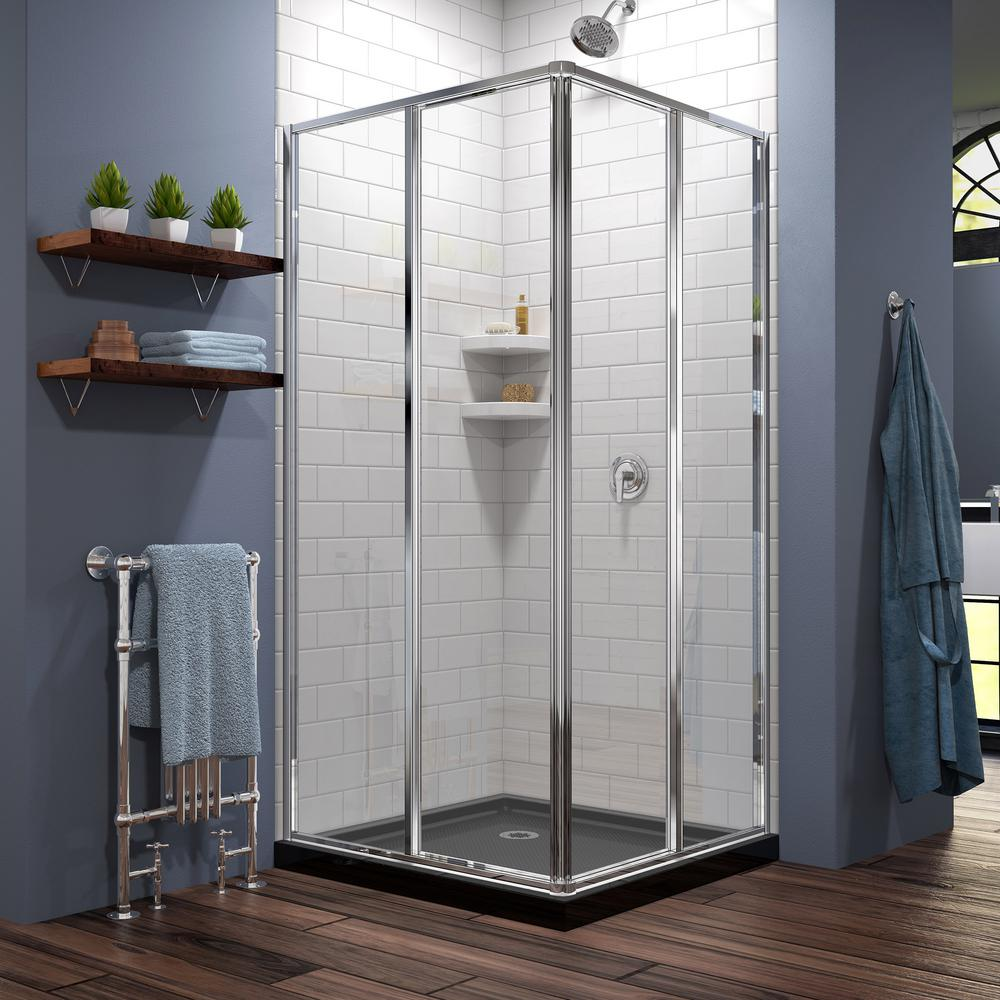 DreamLine Cornerview 36 in. x 74-3/4 in. Framed Shower Enclosure in Chrome with Base in Black