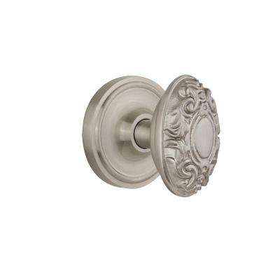 Classic Rosette 2-3/8 in. Backset Satin Nickel Passage Victorian Door Knob