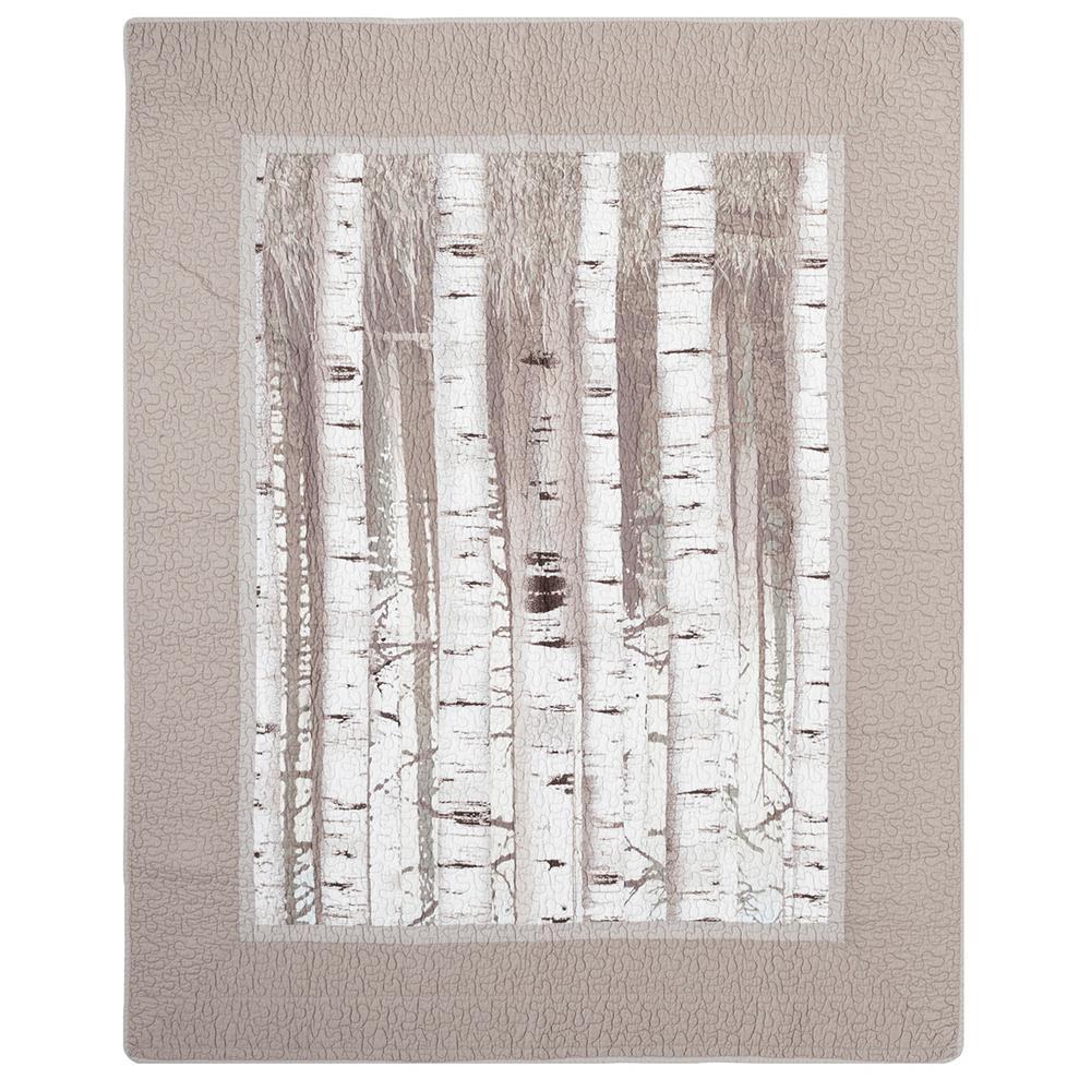 Birch Forest Taupe Cotton Throw Blanket