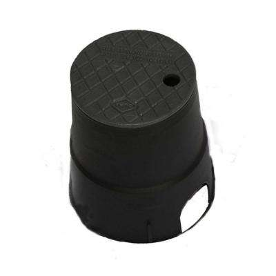 10 in. Round Valve Box in Black Body Black Lid