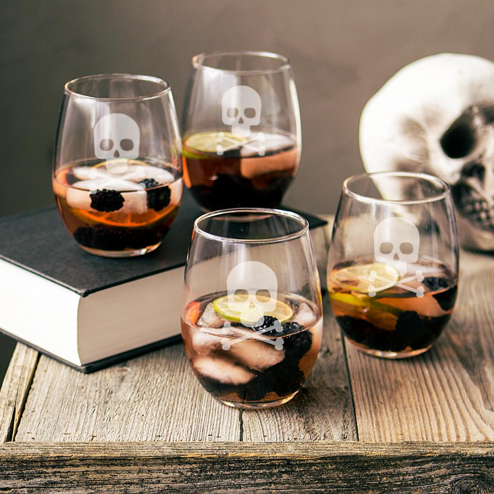 Skull & Crossbones 21 oz. Stemless Wine Glasses (Set of 4)
