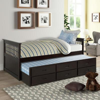 Espresso Twin Size Solid Wood Bed with Trundle and Drawers
