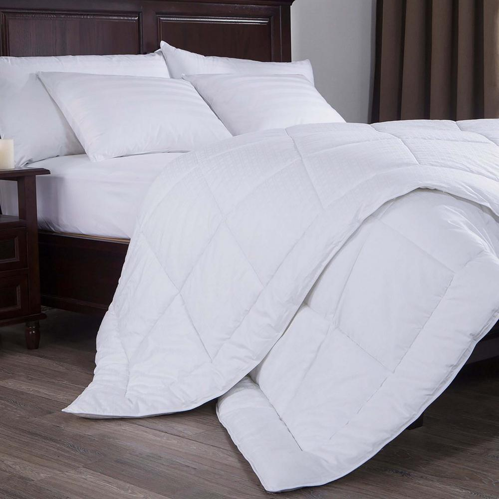 300 Thread Count Dobby Check Down Alternative Comforter King In White