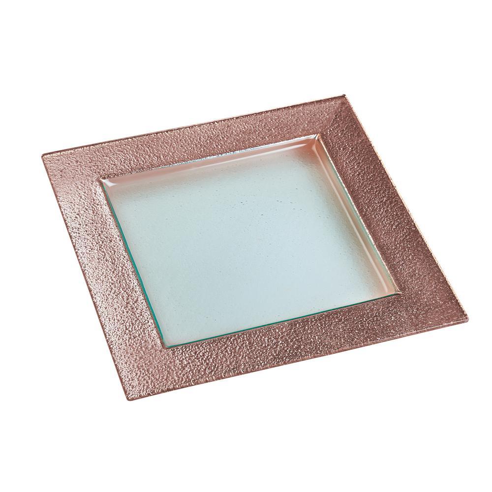 13 in. Studio Rose Gold Glass Square Serving Platter