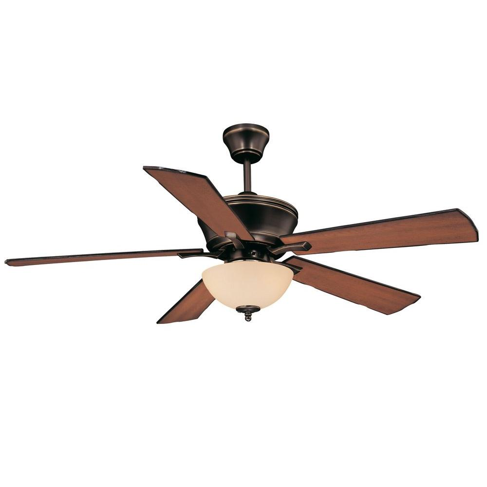 Old Bronze Ceiling Fan With Cream Scavo Glass
