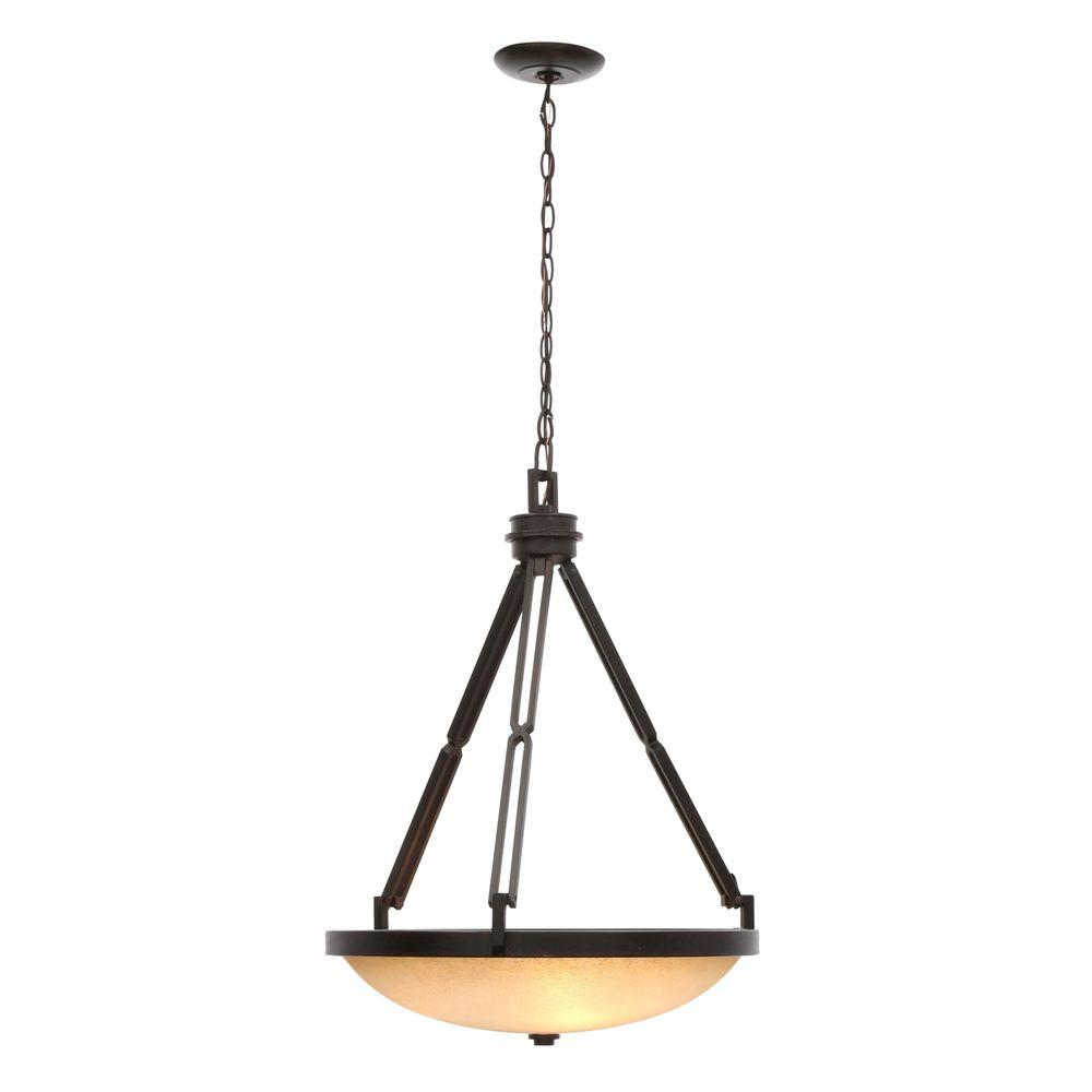 Alta Loma 3-Light Dark Ridge Bronze Bowl Pendant with Scavo Glass