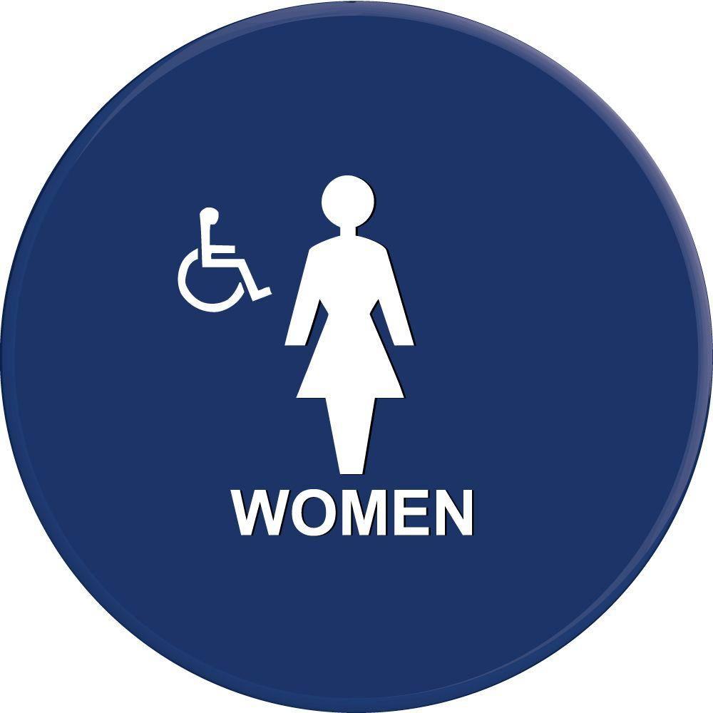 Lynch Sign 12 in. Blue Circle with Women Symbol and Accessible Symbol Sign