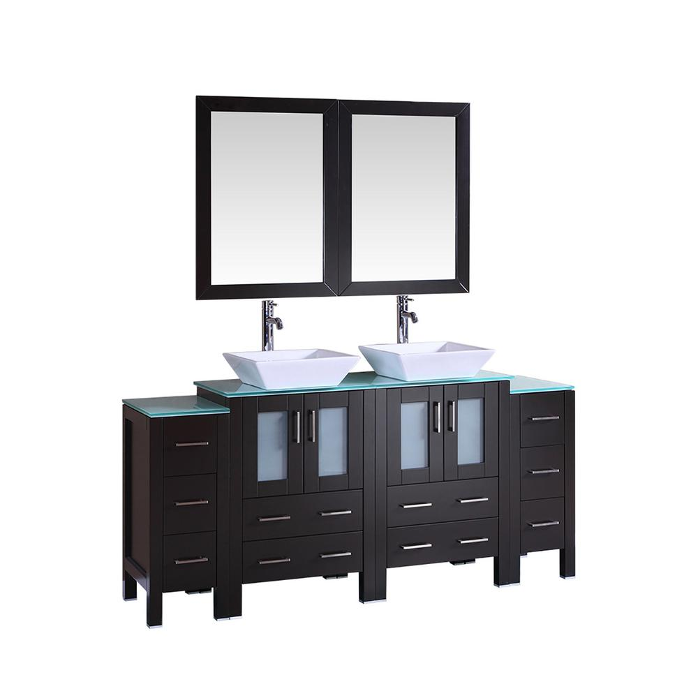 Bosconi 72 in. W Double Bath Vanity in Espresso with  Glass Vanity Top with White Basin and Mirror