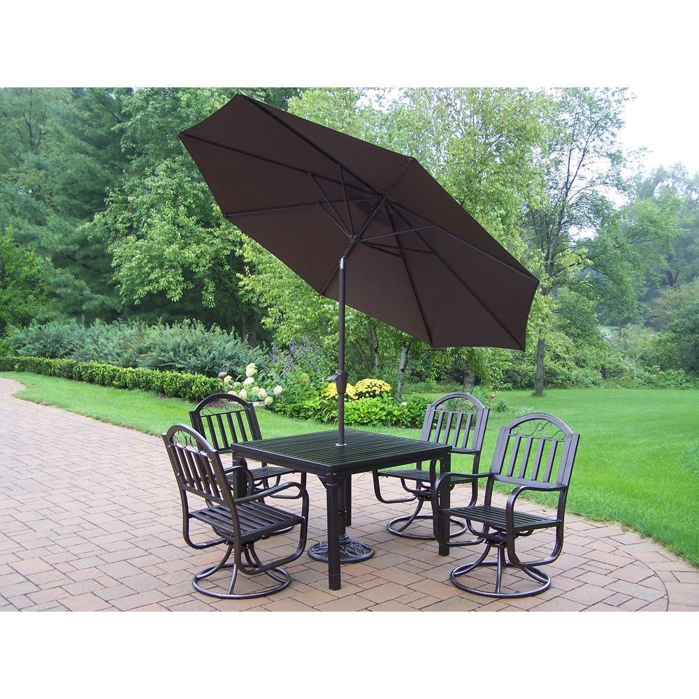 Patio Umbrella Furniture Sets: Oakland Living Rochester 5-Piece Patio Swivel Dining Set
