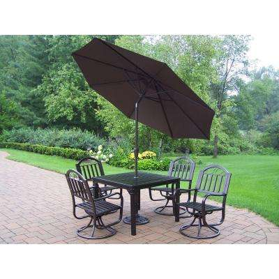 Rochester 5-Piece Patio Swivel Dining Set with Tilting Umbrella and Stand